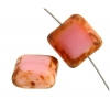 Fire polished 15x15mm Cut Square Pink Marble Edge